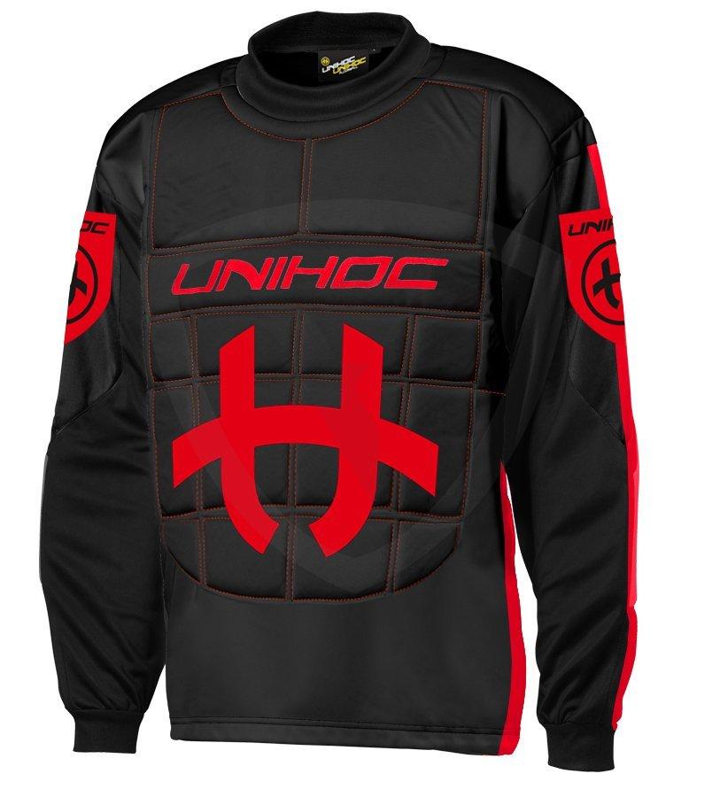 a08dcad82b1a9 Unihoc Shield JR. Black/Neon Red brankářský dres - Florbal.com
