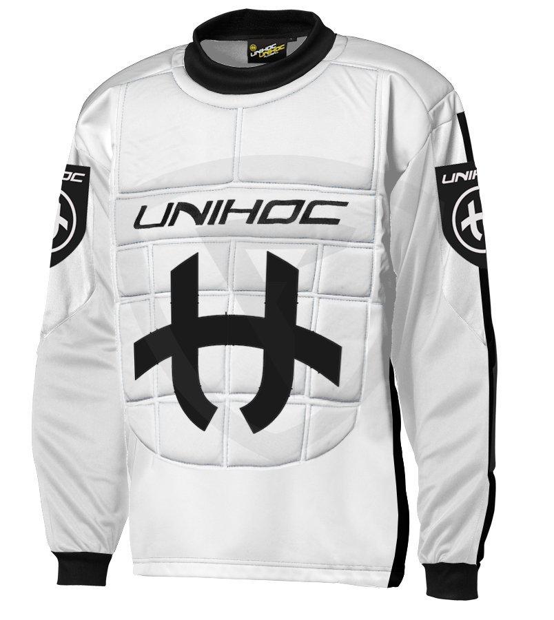 f41de8b667090 Unihoc Shield JR. White / Black brankársky dres - Florbal.com