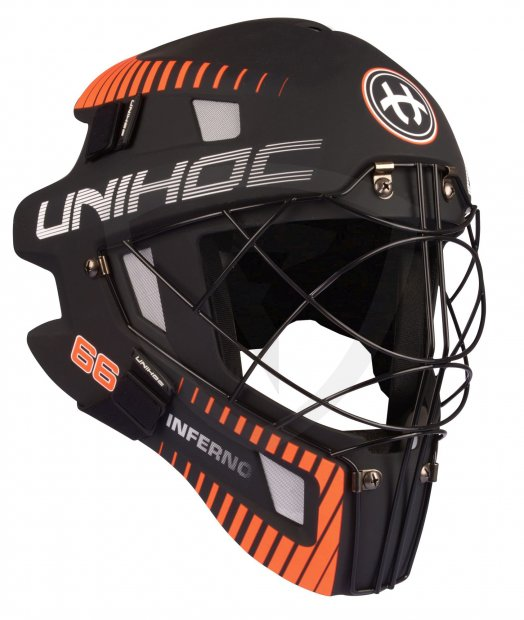 Unihoc Inferno 66 Mask Black/Neon Orange 12585 GOALIE MASK UNIHOC INFERNO 66