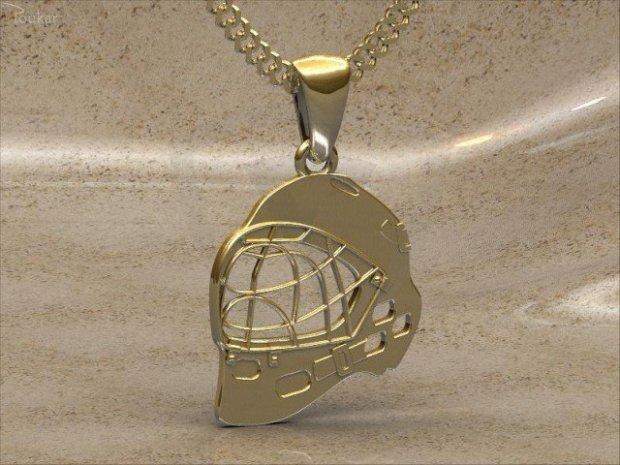 89c038b25 Prívesok florbalová maska - pozlátené striebro Přívěsek florbalová maska -  pozlacené stříbro
